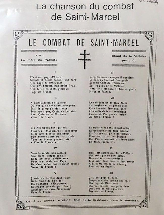 Keryhuel La chanson du combat de Saint Marcel